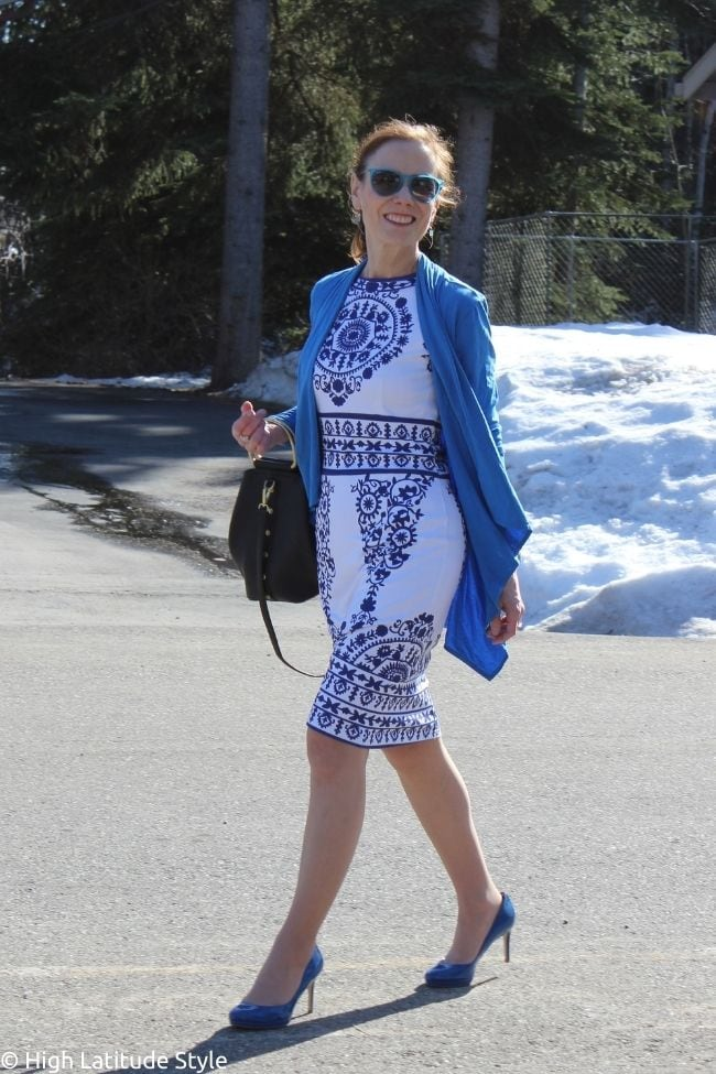 stylist in cardigan dress civil nuptial outfit