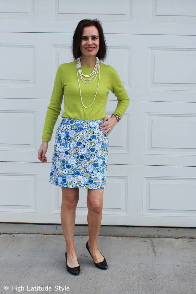 #styleover50 mature woman in work outfit with printed pencil skirt