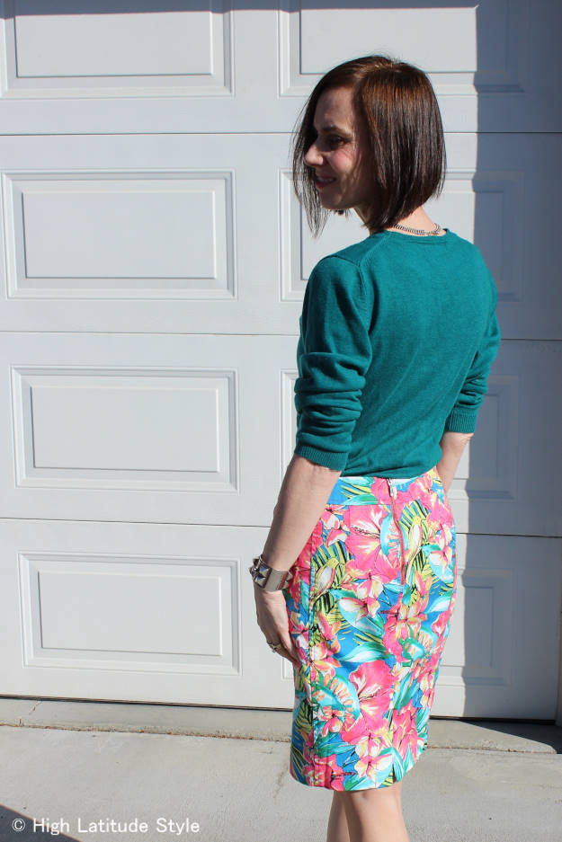 #fashionover50 work outfit with tropical print skirt