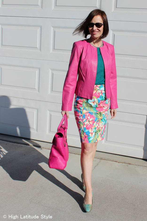 #fashionover50 work outfit with pink biker hide