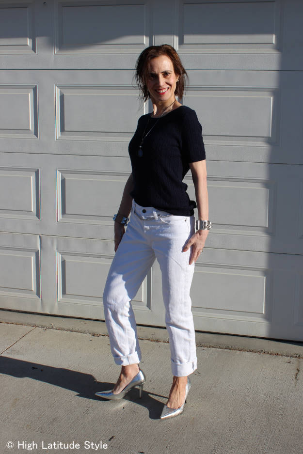 #styleover50 mature woman in Casual Friday office look