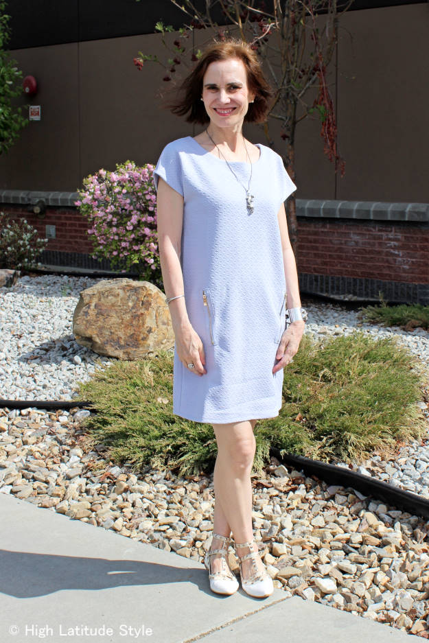 #fashionover50 midlife woman in Blue Vanilla tunic dress