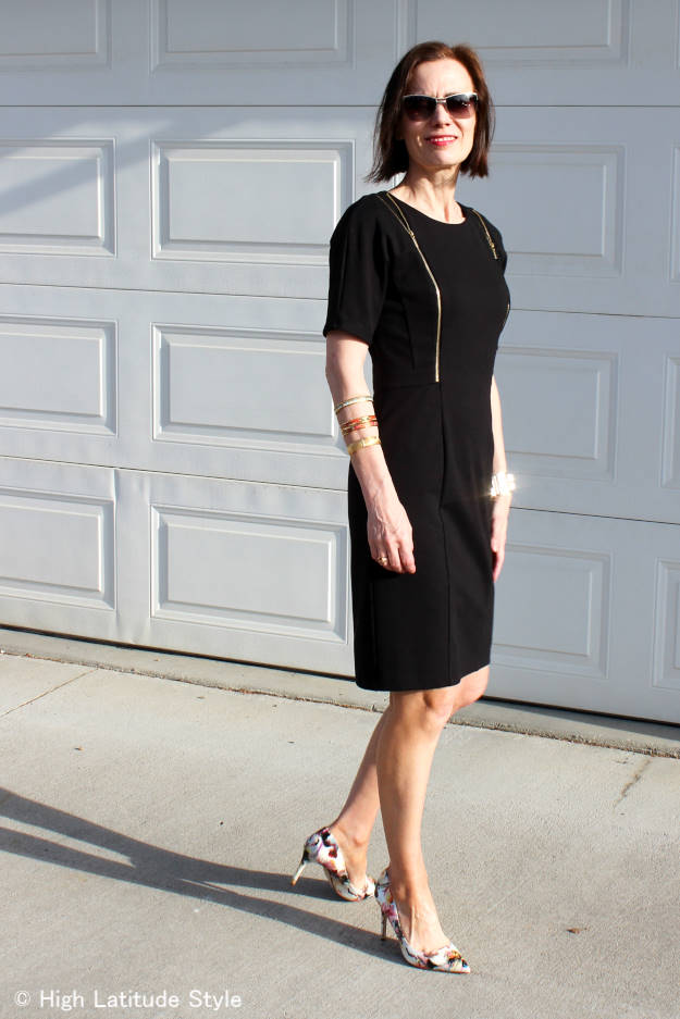 #fashionover40 mature woman in a thrifted LBD | High Latitude Style