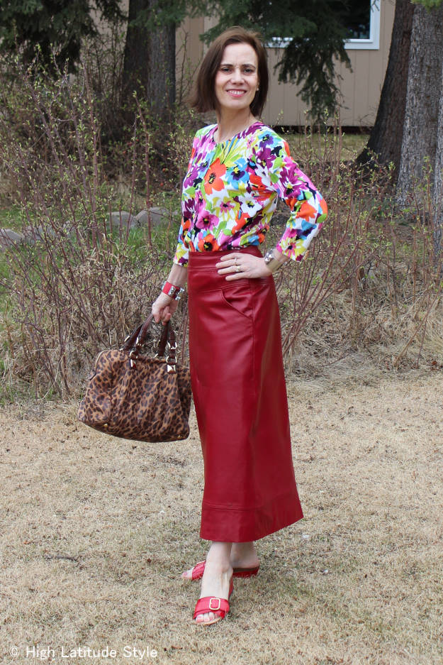 fashion blogger over 50 in maxi leather skirt