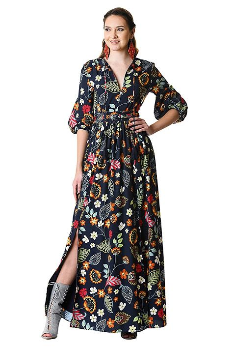 fun floral print tassel tie crepe maxi dress