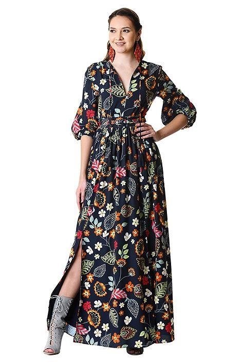 fun floral print tassel tie crepe maxi dress