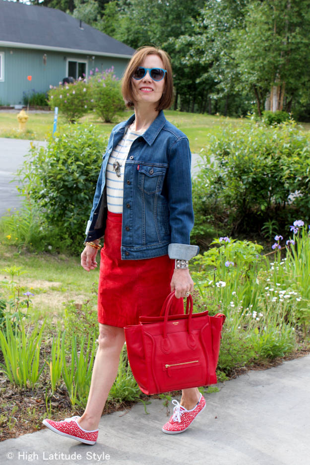 chic patriotic OOTD in red, white and blue