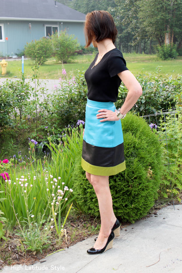 #fashionover40 work look with striped leather skirt @http://www.highlatitudestyle.com