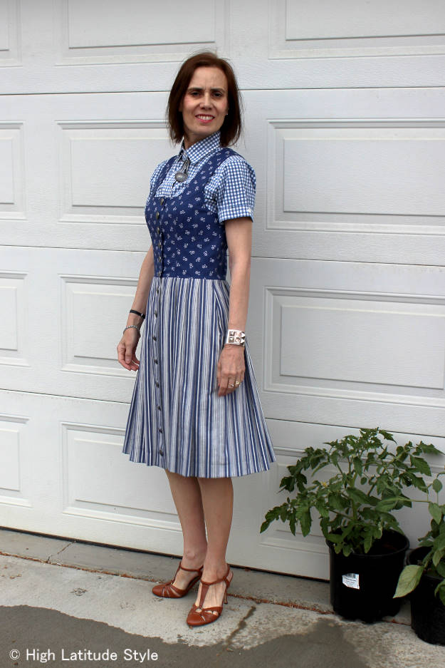 #over40fashion #over50fashion summer dress with shirt