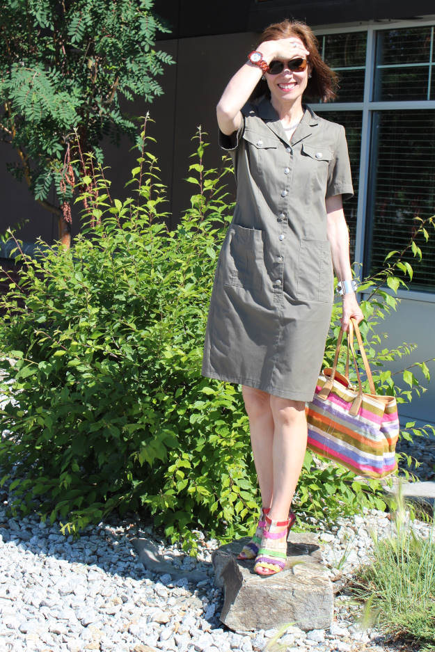 #styleover40 midlife woman in military inspired shirt dress