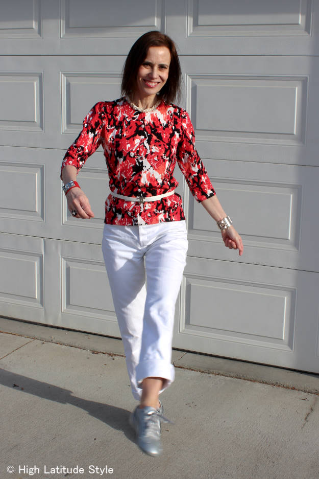 #advancedstyle mature woman wearing floral print to work