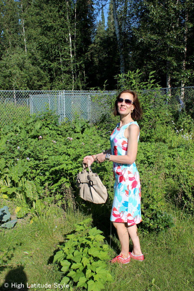 #fashionover40 #over50fashion midlife woman in posh floral print dress with Keds for casual Friday