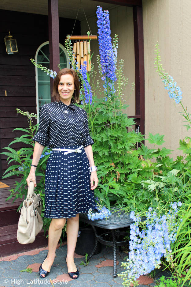 #over50fashion polka dot shirt and skirt work outfit for mature women