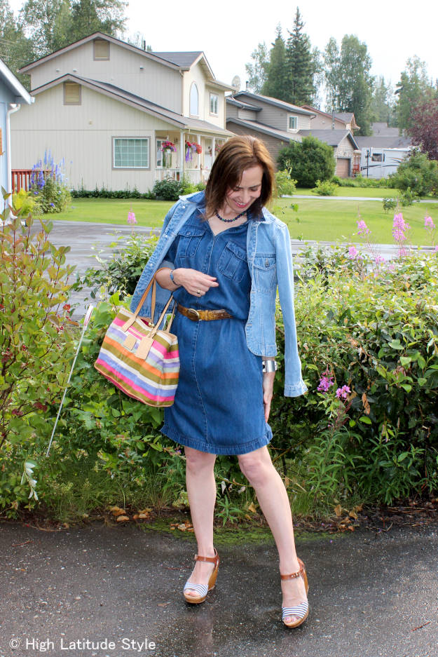 denim-on-denim monochromatic work outfit for women over 40