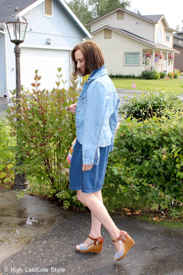 #fashionover50 woman in posh casual denim dress and jacket work outfit