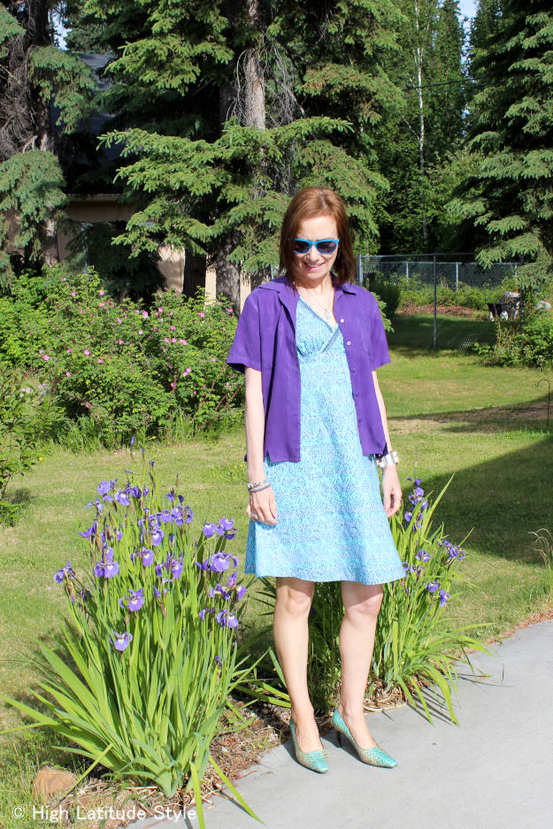 #over50fashion Nicole of High Latitude Style breaking old-fashioned rules by donning a printed dress wearing a blouse as jacket