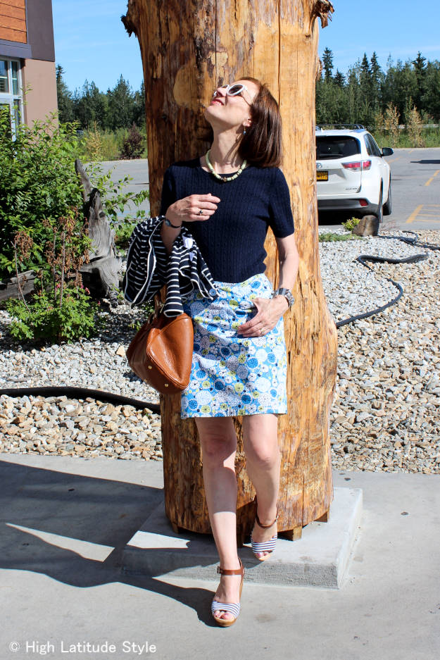 #fashionover40 #fashionover50 fall work outfit with mixing stripes and floral pattern