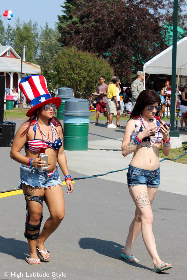 girls in Pioneer Park wearing patriotic outfits