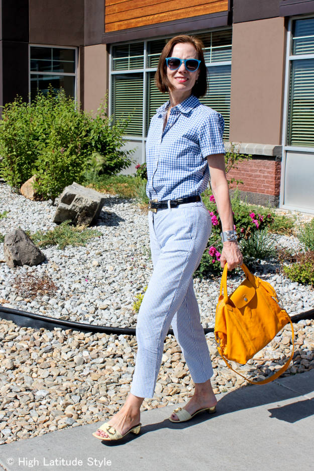 #over40fashion #over50fashion blue and white trend seersucker with gingham shirt work outfit   High Latitude Style   http://www.highlatitudestyle.com