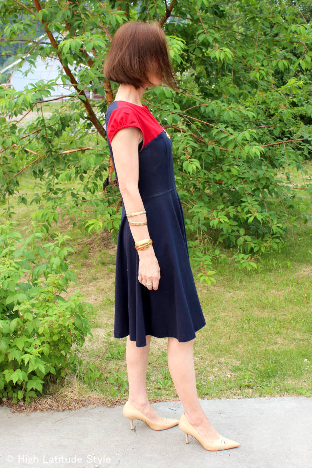 #over50fashion color block summer outfit with arm candies for work