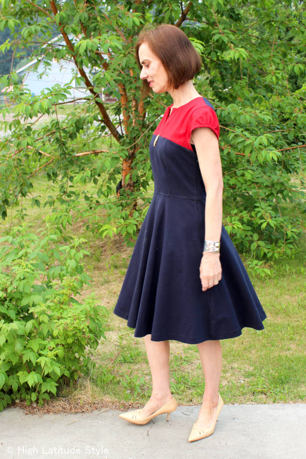 over 50 year old in color block fit-and-flare dress for dancing