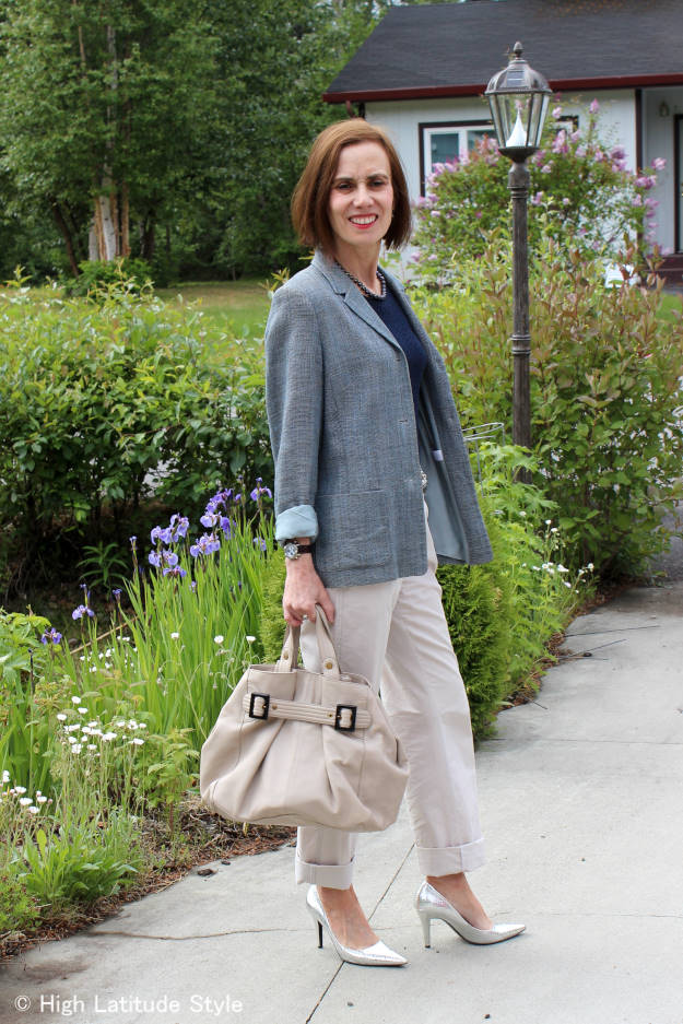 #over40fashion #over50fashion casual office outfit with blazer and chinos | High Latitude Style | http://www.highlatitudestyle.com