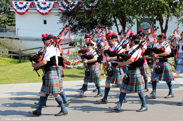 bag pipe band playing in Pioneer Park on Independence Day