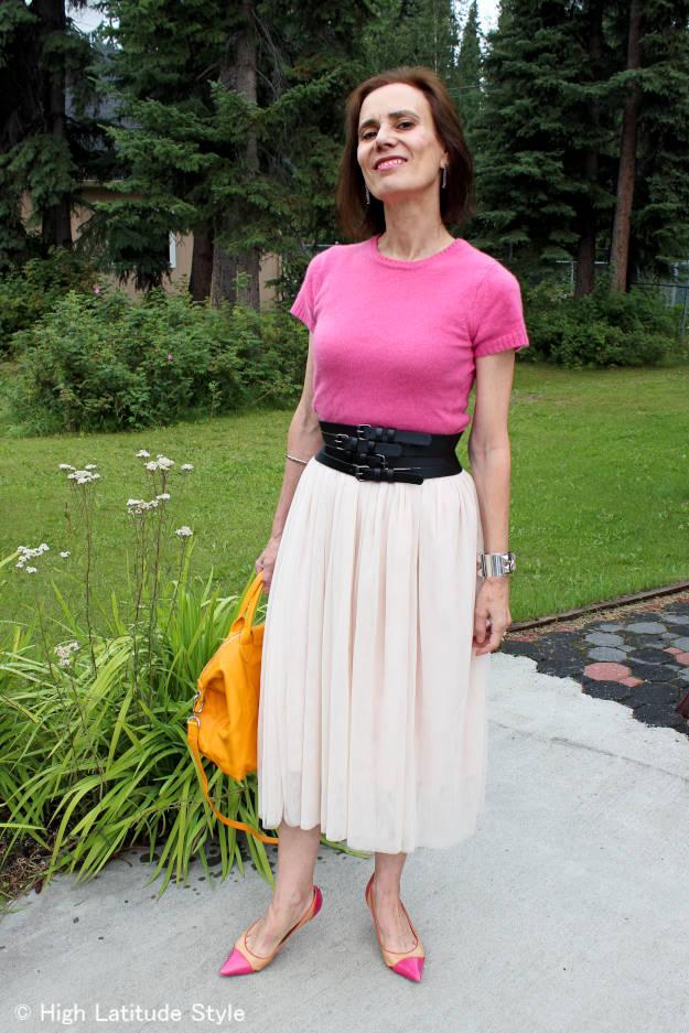 mature woman in mesh skirt