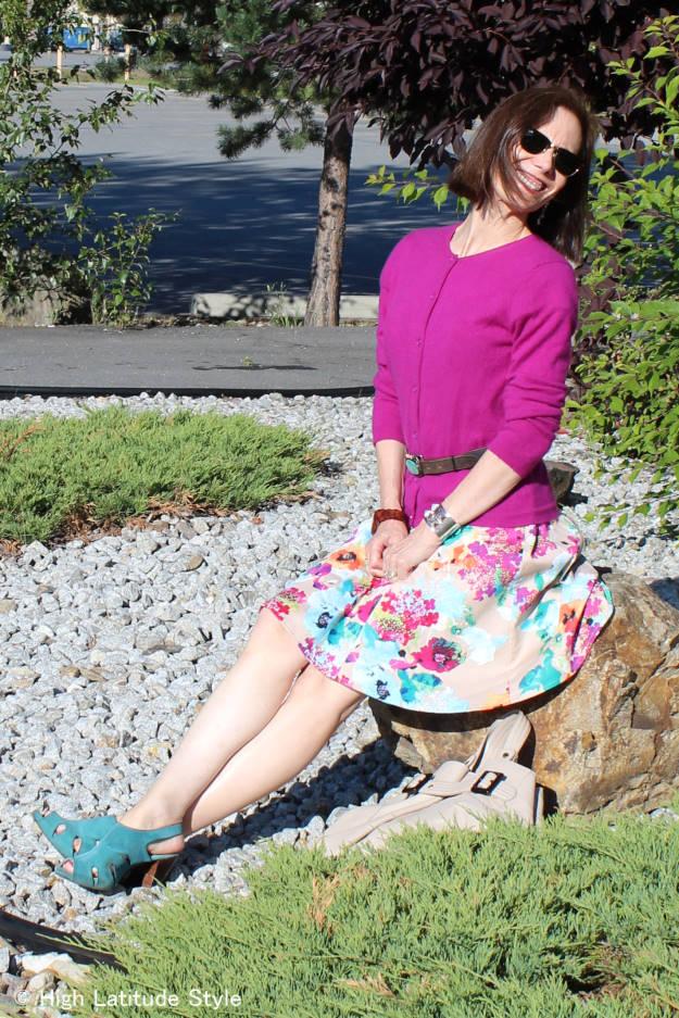 #fashionover40 woman wearing a cardigan worn as top