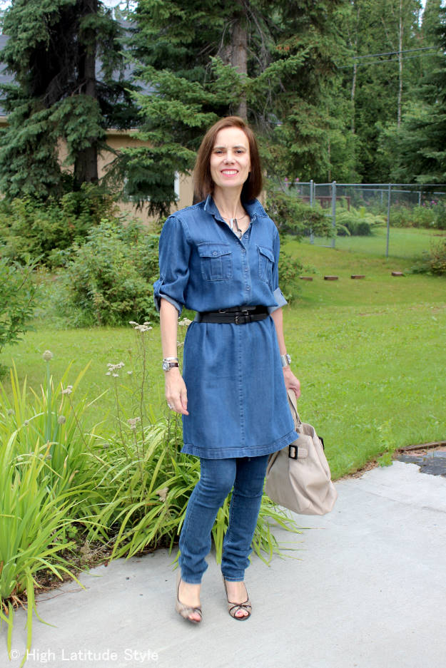 #fashionover40 older woman in dress over pants look in all denim