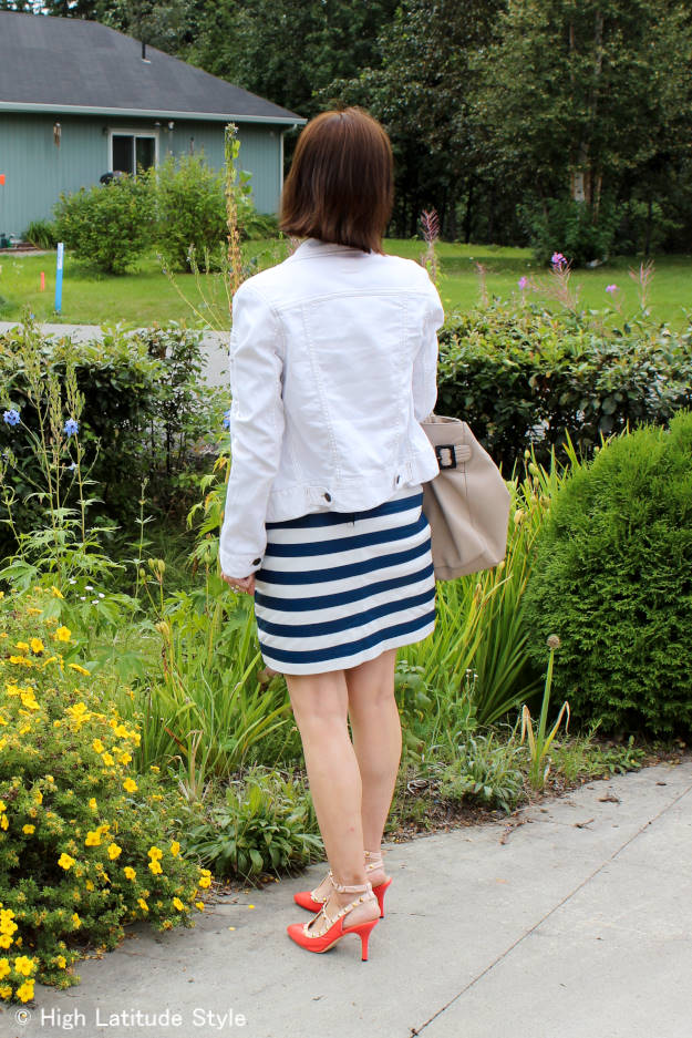 white denim jacket with striped leather skirt