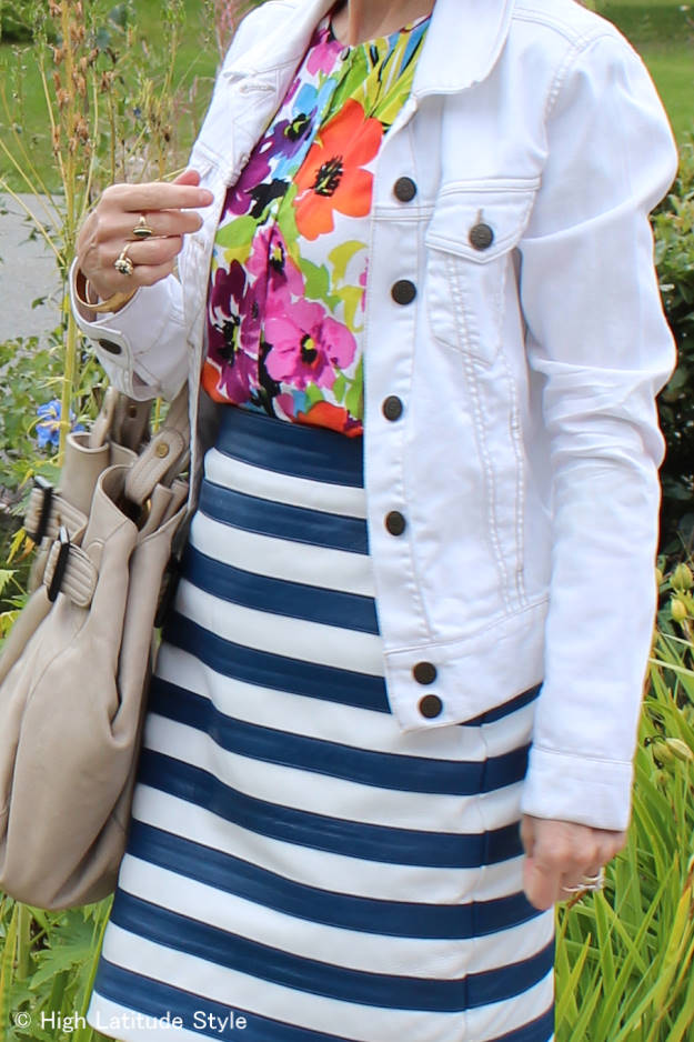 #fashionover40 details of outfit with floral top and striped skirt