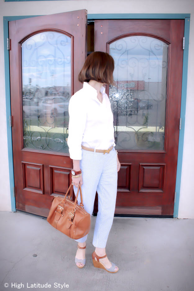 fashion over 40 pants with a button-down shirt