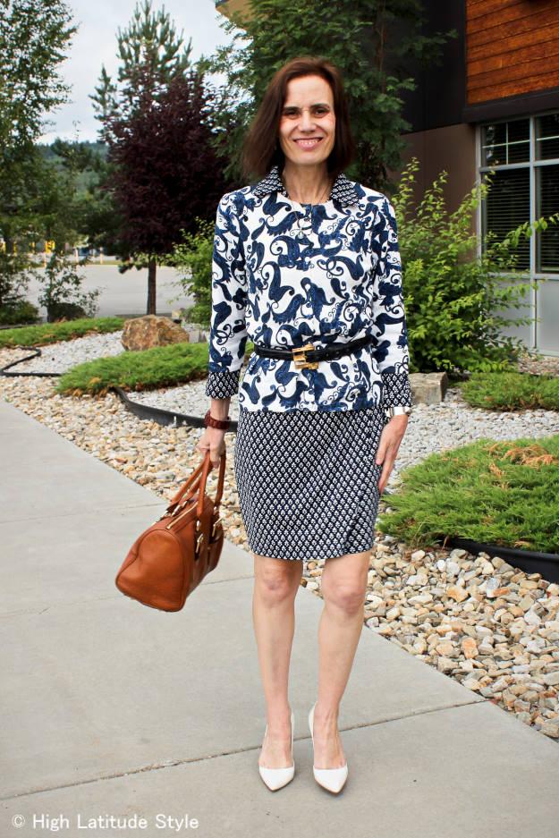 #fashionover40 #fashionover50 mixed pattern for work | High Latitude Style | http://www.highlatitudestyle.com