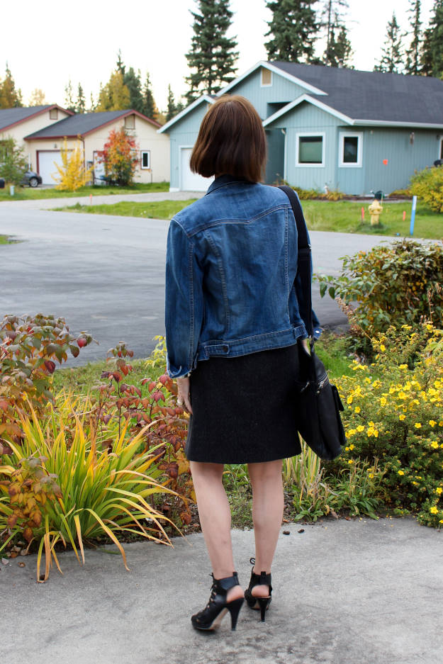 #fashionover40 #fashionover50 mature woman in tweed skirt and denim jacket