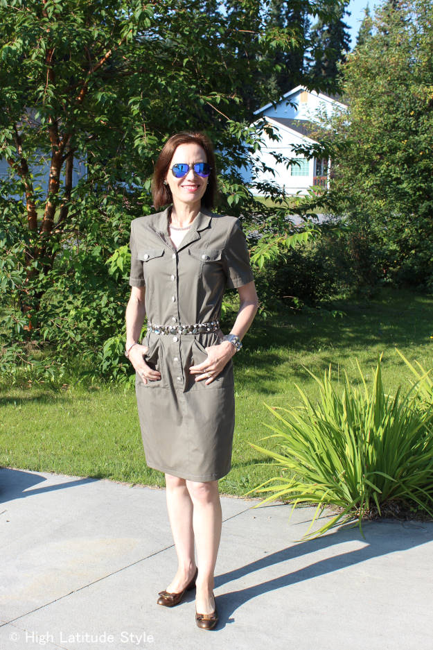midlife woman in militray inspired summer dress