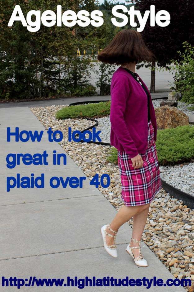 #fashionover50 woman in plaid skirt, sweater, cardigan and statement shoes