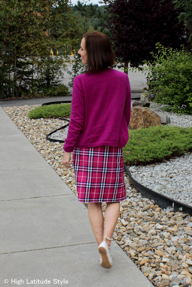 fashion over 50 woman in plaid A-line skirt