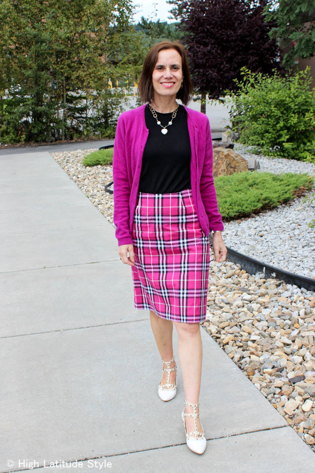 fashion over 50 woman in Euro Chic twinset with plaid skirt