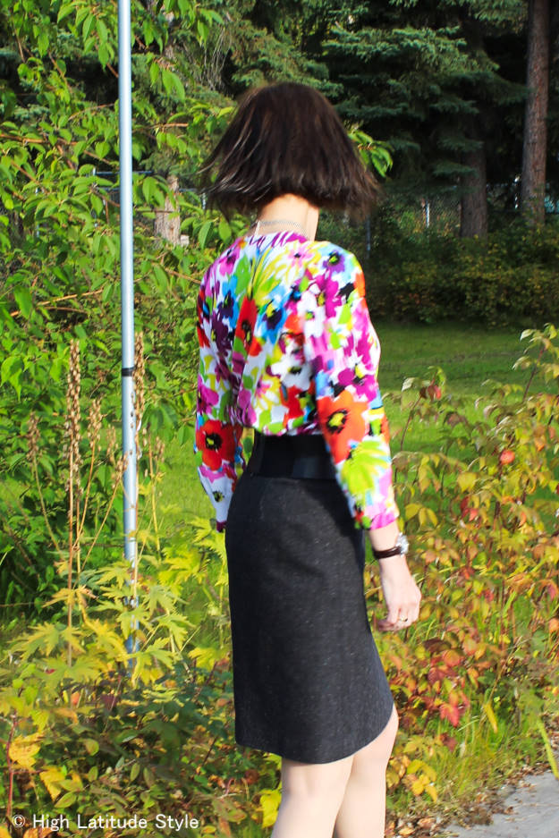 eclectic tweed with floral and studs outfit