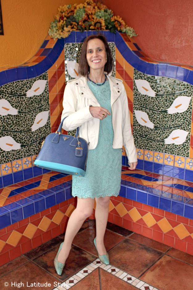 #fashionover40 Summer lace dress styled for fall with leather jacket