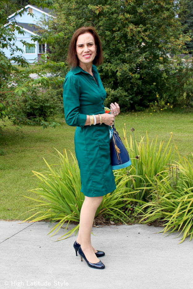 #fashionover40 #fashionover50 side view of outfit with sleek dress