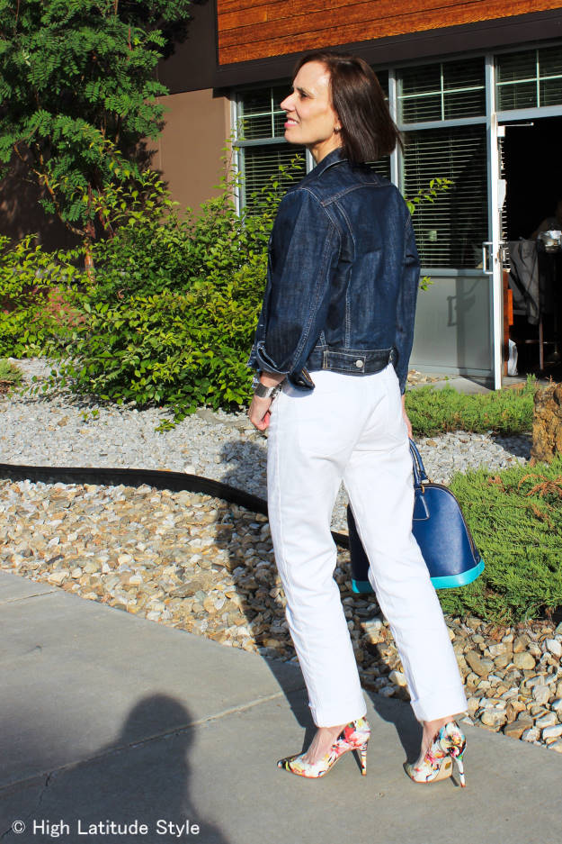 #midlifestyle older woman wearing posh denim-on-denim