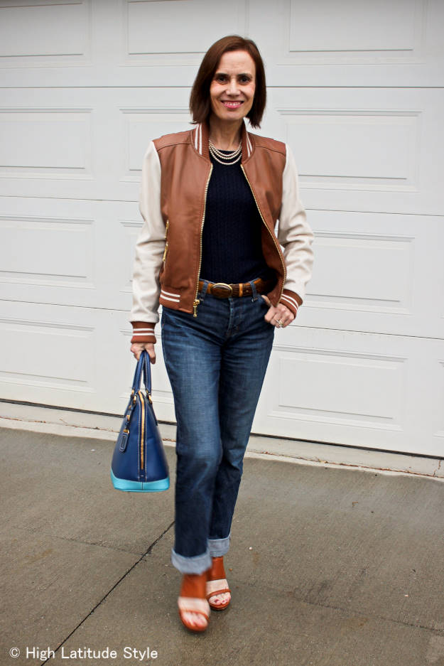 #fashionover40 #fashionover50 One baseball jacket 10 ways