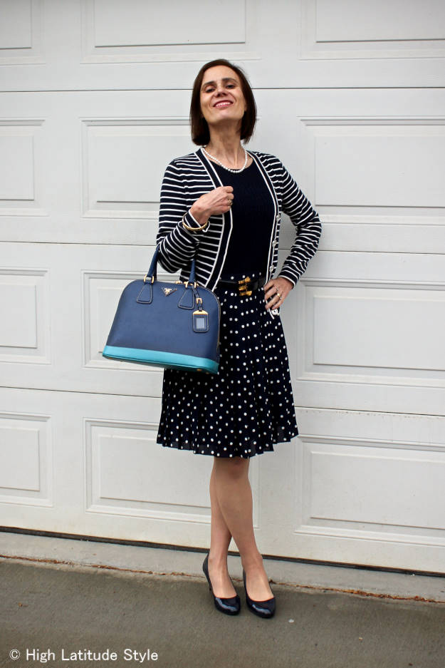 #fashionover50 fall outfit with summer pieces and thrifted accessories