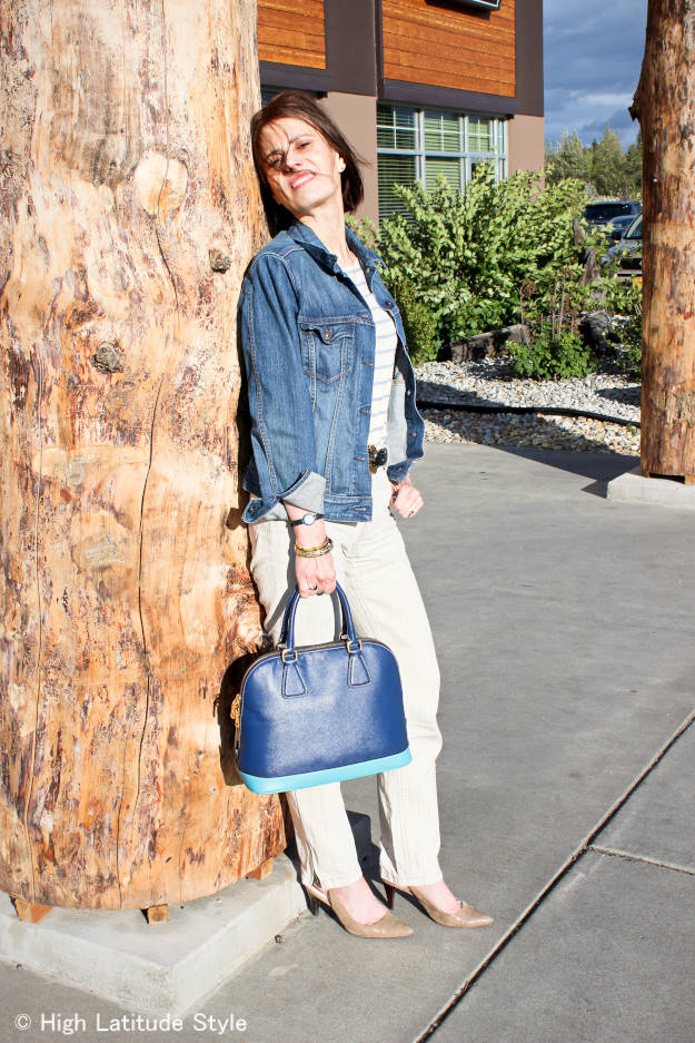midlife blogger in chic denim jacket with linen work outfit