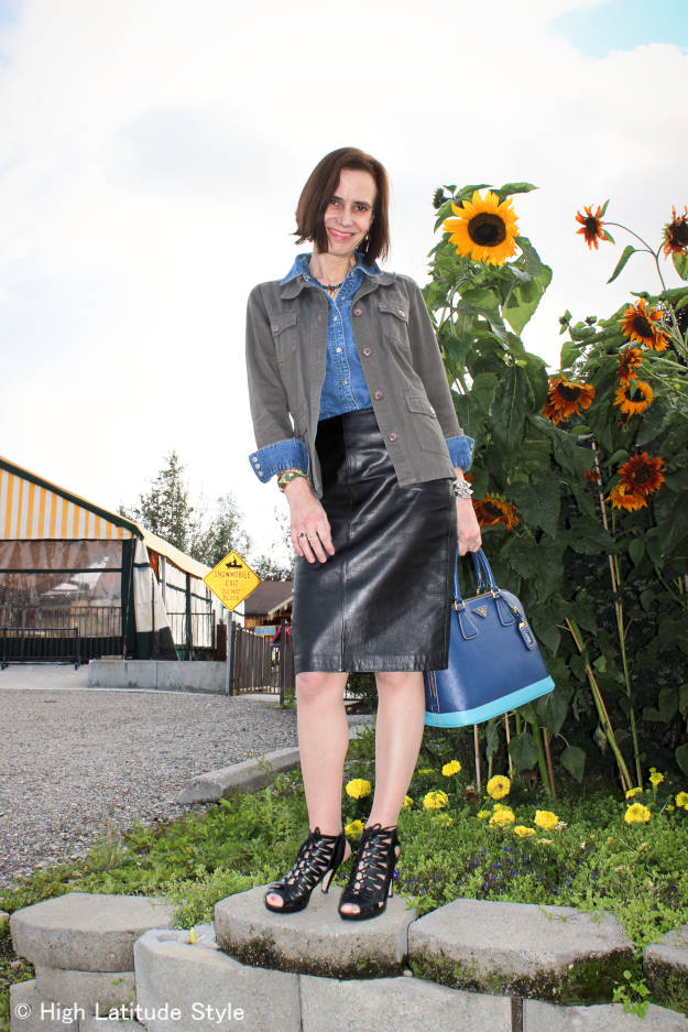 denim shirt with black leather skirt and olive all neutrals outfit idea