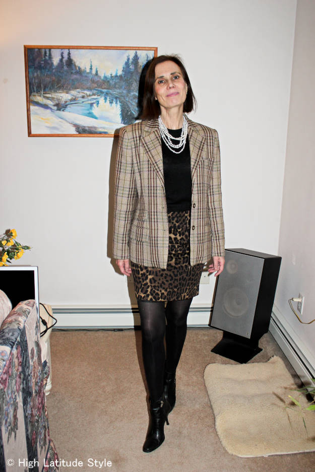 #fashionover40 #fashionover50 work outfit with plaid blazer and leopard print skirt