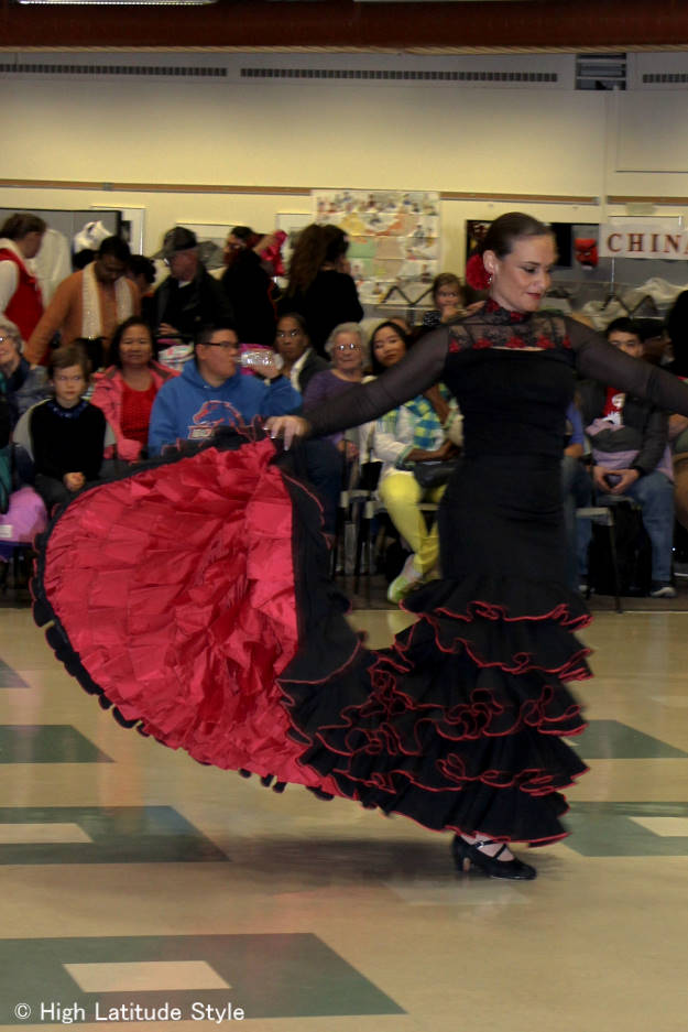 #fashionover40 #fashionover50 Flamenco dancer in her costume at Fairbanks International Friendship Day @ High Latitude Style @ http://www.highlatitudestyle.com