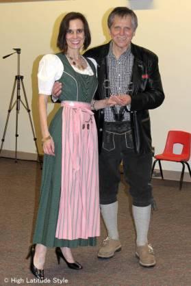 Fairbanks couple wearing Alpine attire